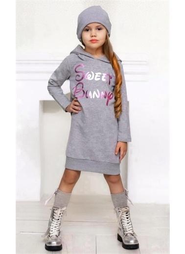 Riccotarz Kız Çocuk Sweet Bunny Tavşan Kulaklı Elbise Gri